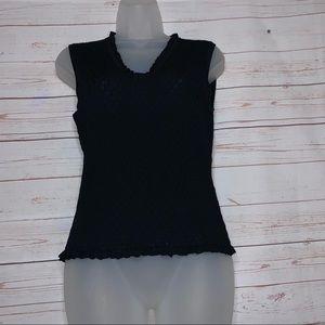 Don Caster Black Knit Sleeveless Top Tank Size S